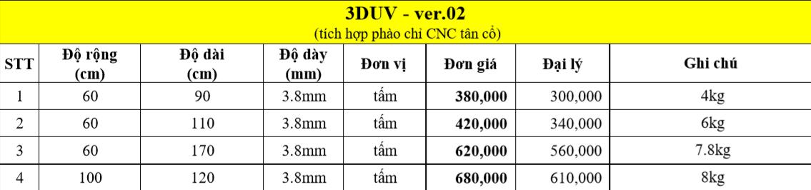 Bảng giá bán 3DUV tại nội thất akhoa